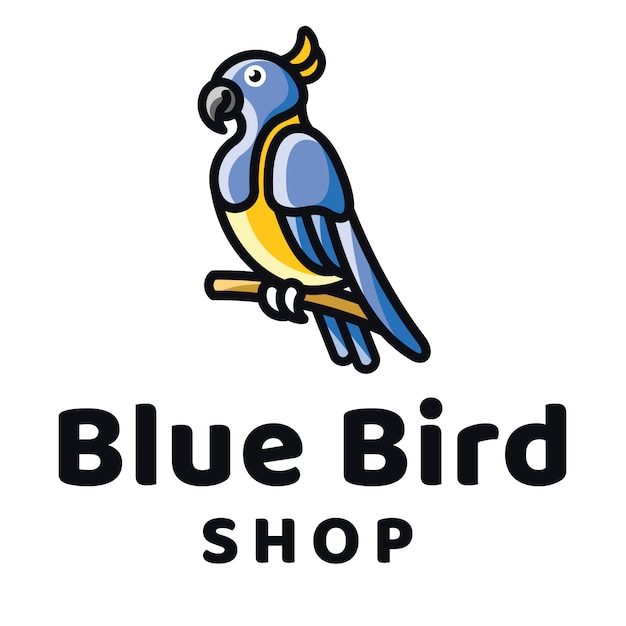 Blue bird shop logo template Premium Vector