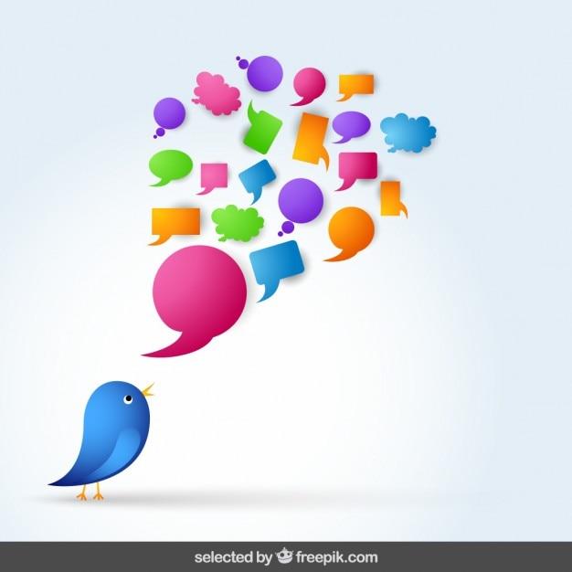 Blue bird with speech bubble