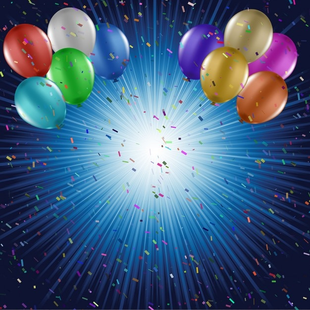 blue birthday background with balloons vector free download