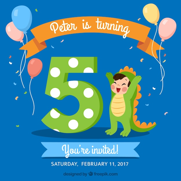 blue birthday background with boy disguised as a dragon