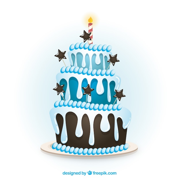 Cartoon Birthday Cake Images Download : Blue birthday cake in cartoon style Vector Free Download