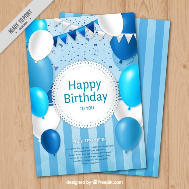 Blue birthday card with balloons and\ garlands