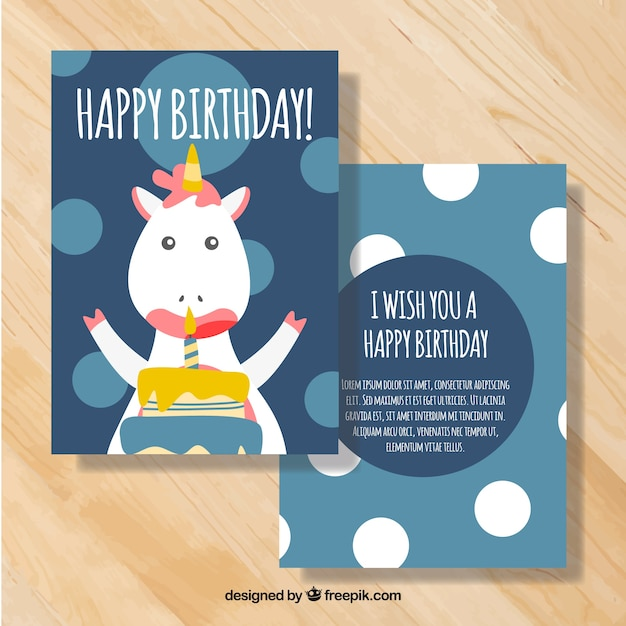 Blue Birthday Card With Cute Unicorn And Circles Free Vector