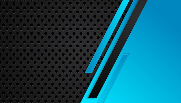 Blue and black abstract metallic frame layout design tech innovation concept background Premium Vector
