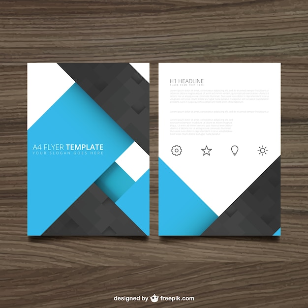 Blue and black brochure Free Vector