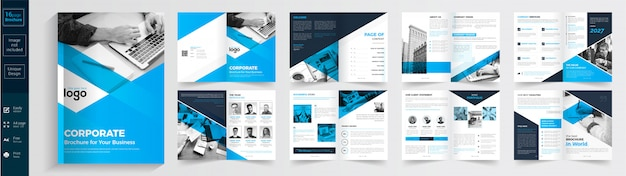 Blue and black business brochure template Premium Vector