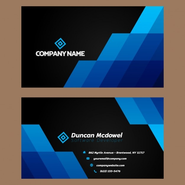 Blue and black business card Free Vector