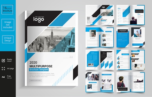 Blue and black corporate brochure Premium Vector