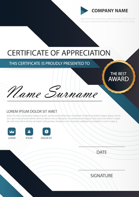 Blue black elegance vertical certificate with vector illustration blue black elegance vertical certificate with vector illustration white frame certificate template with clean and yadclub Images