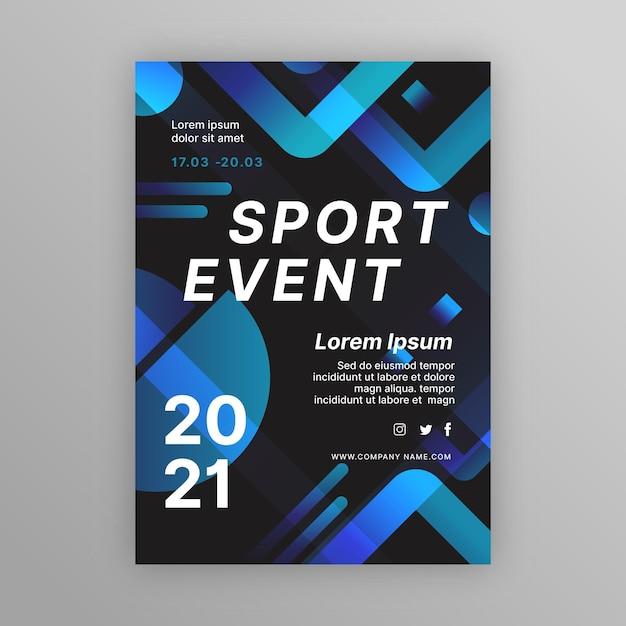 Modello di manifesto di eventi sportivi blu e nero Vettore gratuito