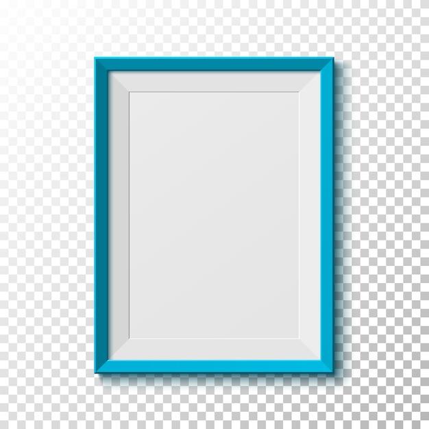 Blue, blank picture  frame  on transparent background.  illustration. Premium Vector