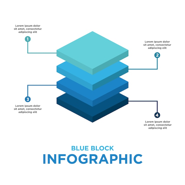 Blue block infographic template Free Vector