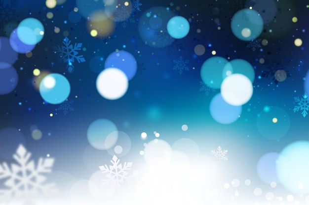 Blue blurry winter background Free Vector