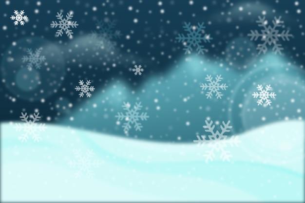 青いぼやけた冬の壁紙 無料ベクター