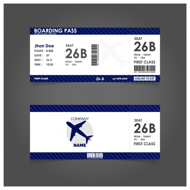Blue Boarding Pass Template Vector  Free Download