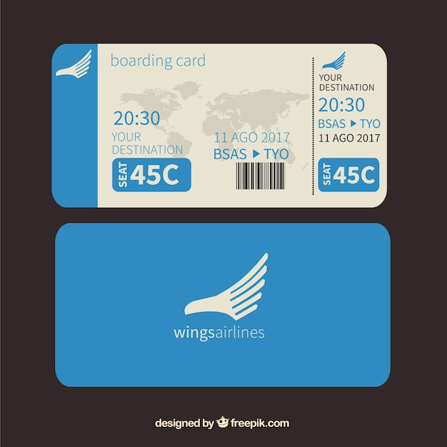 Download vector boarding pass with map and airplane background blue boarding pass with world map gumiabroncs Choice Image