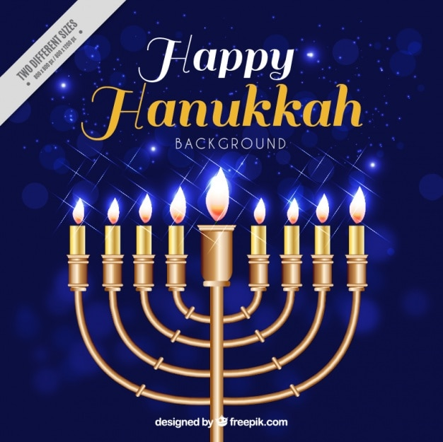Blue bokeh background with candelabra for hanukkah Free Vector