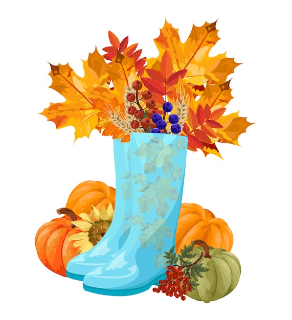 Blue boots full with autumn leaves Premium Vector