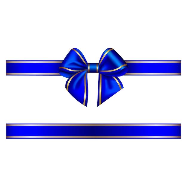 Синий бант и лента с золотой каймой Premium векторы
