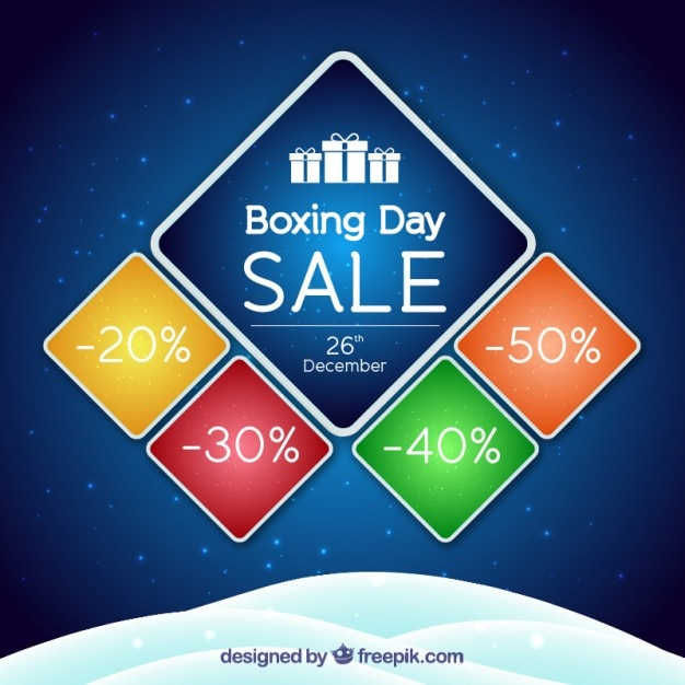 Blue boxing day sale background