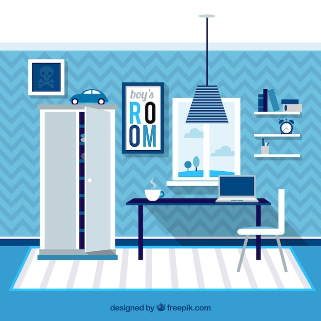 blue boys room vector premium download