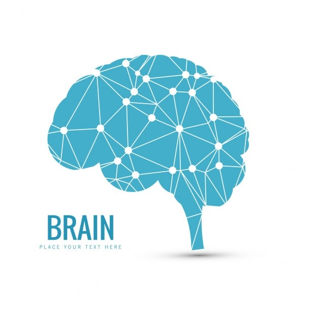Blue brain background Free Vector