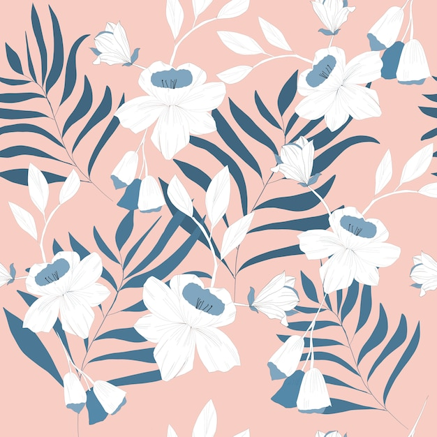 Blue branch and flower seamless pattern Premium Vector