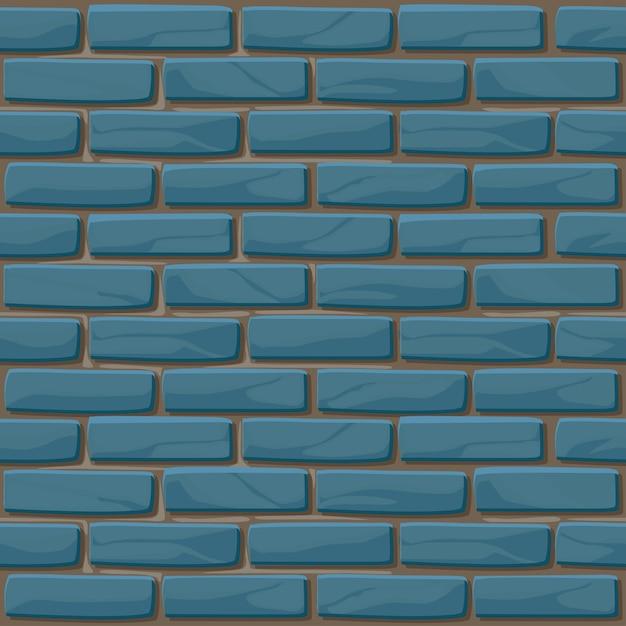 Бесшовные текстуры синего кирпича стены. иллюстрация каменная стена. бесшовный образец Premium векторы