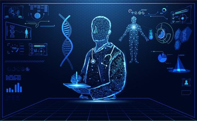 Blue bright doctor hologram Premium Vector