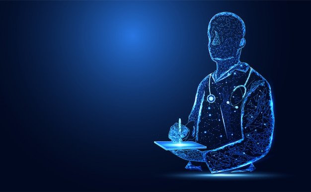 Blue bright doctor silhouette background Premium Vector