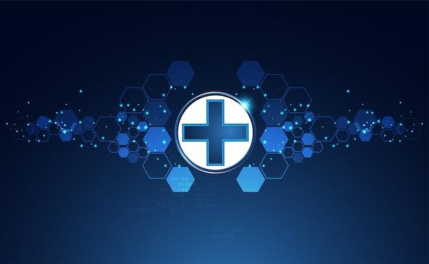 Blue bright health sign background Premium Vector