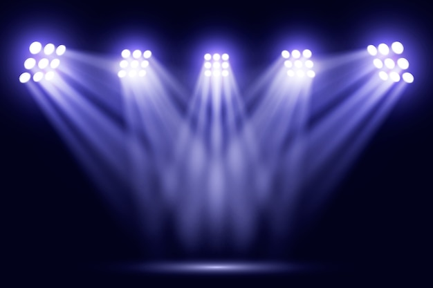 Blue bright reflector lights on stadium Free Vector