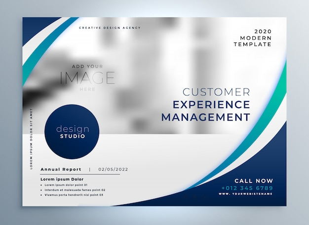 blue brochure design with stylish wavy shape Free Vector