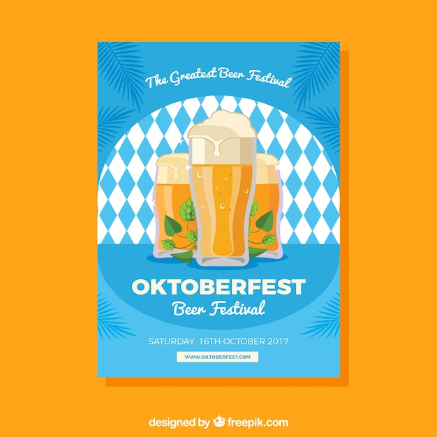 Blue brochure of rhombuses of oktoberfest