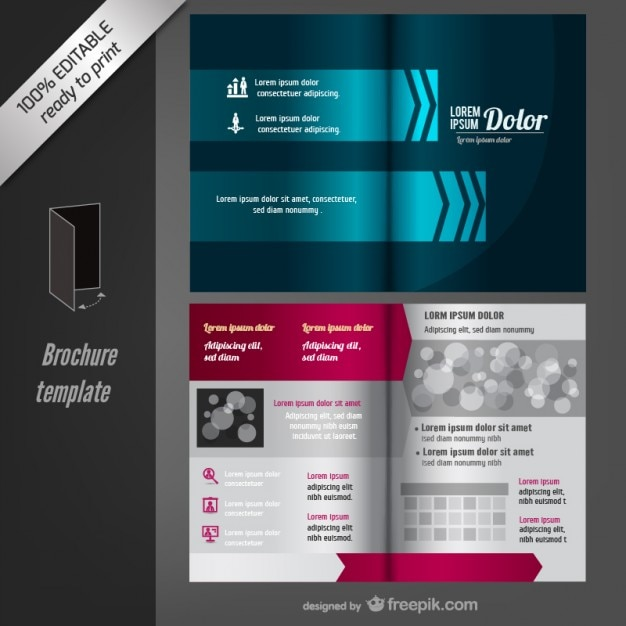Blue brochure template vector free download for Brochure template download