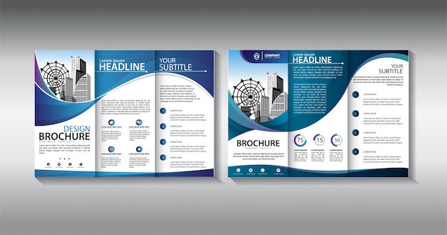 Blue brochure trifold business template Premium Vector