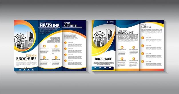 Blue brochure trifold business template Premium Vector