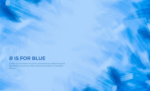 Blue brushstrokes background with quote Free Vector