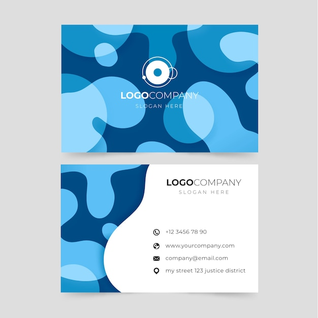 Blue bstract business card Free Vector