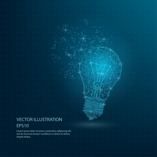 Blue bulb lamp low poly wire frame Vector | Premium Download