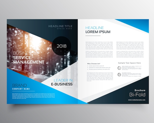 brochure templates for it company - blue business brochure template vector free download