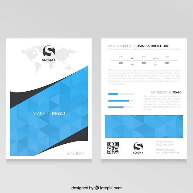 Blue business brochure template vector free download for Company brochure template free download