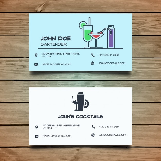 Blue business card about cocktails Free Vector