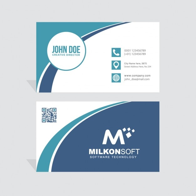 Blue business card decorated with wavy lines Free Vector
