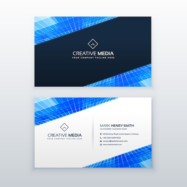Blue business card design template vector free download for Blue business card template