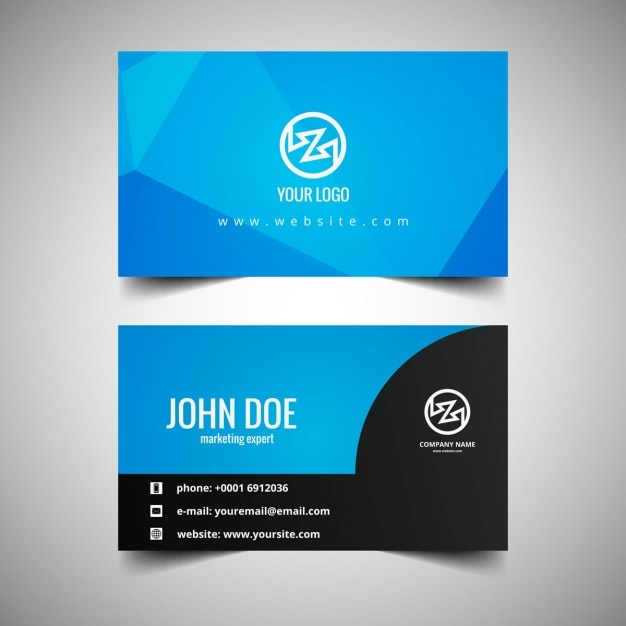 Blue business card in polygonal style free vector