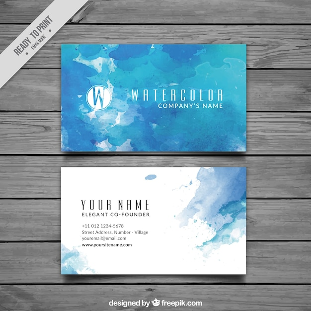 Blue business card in watercolor style Free Vector