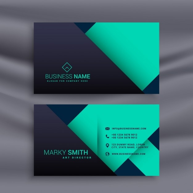 Blue Business Card Minimal Style Vector Free Download