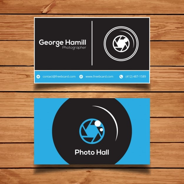 Blue business card for photography Free Vector