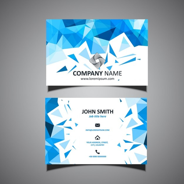 Blue business card, polygonal shapes Free Vector